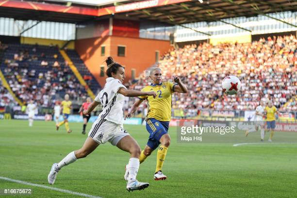 Lina Magull of Germany and Jonna Andersson of Sweden battle for the ball during the Group B match between Germany and Sweden during the UEFA Women's...