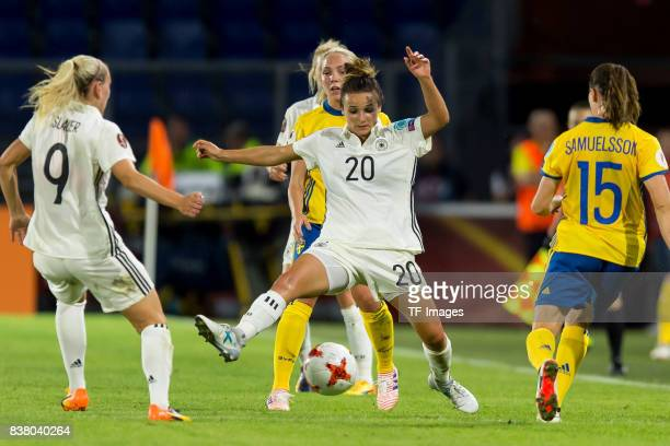 Lina Magull of Germany battle for the ball l during the Group B match between Germany and Sweden during the UEFA Women's Euro 2017 at Rat Verlegh...