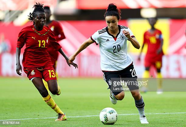 Lina Magull of Germany runs with the ball during the women's international friendly match between Germnay and Ghana at Benteler Arena on July 22 2016...