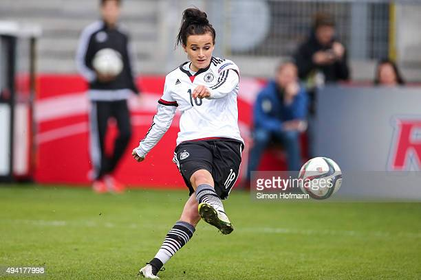 Lina Magull of Germany scores her team's fifth goal during the UEFA Women's Euro 2017 Qualifier match between Germany and Turkey at Hardtwaldstadion...