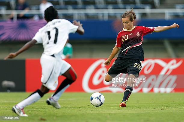 Lina Magull of Germany shoots to score a goal against Ghana during the FIFA U20 Women's World Cup Japan 2012 Group D match between Ghana and Germany...
