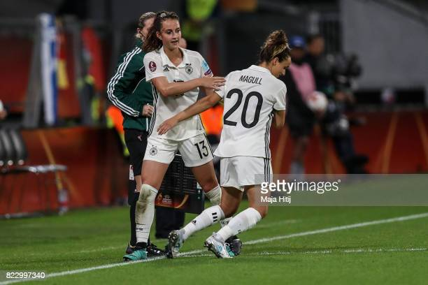 Lina Magull of Germany substitues Sara Daebritz during the Group B match between Russia and Germany during the UEFA Women's Euro 2017 at Stadion...