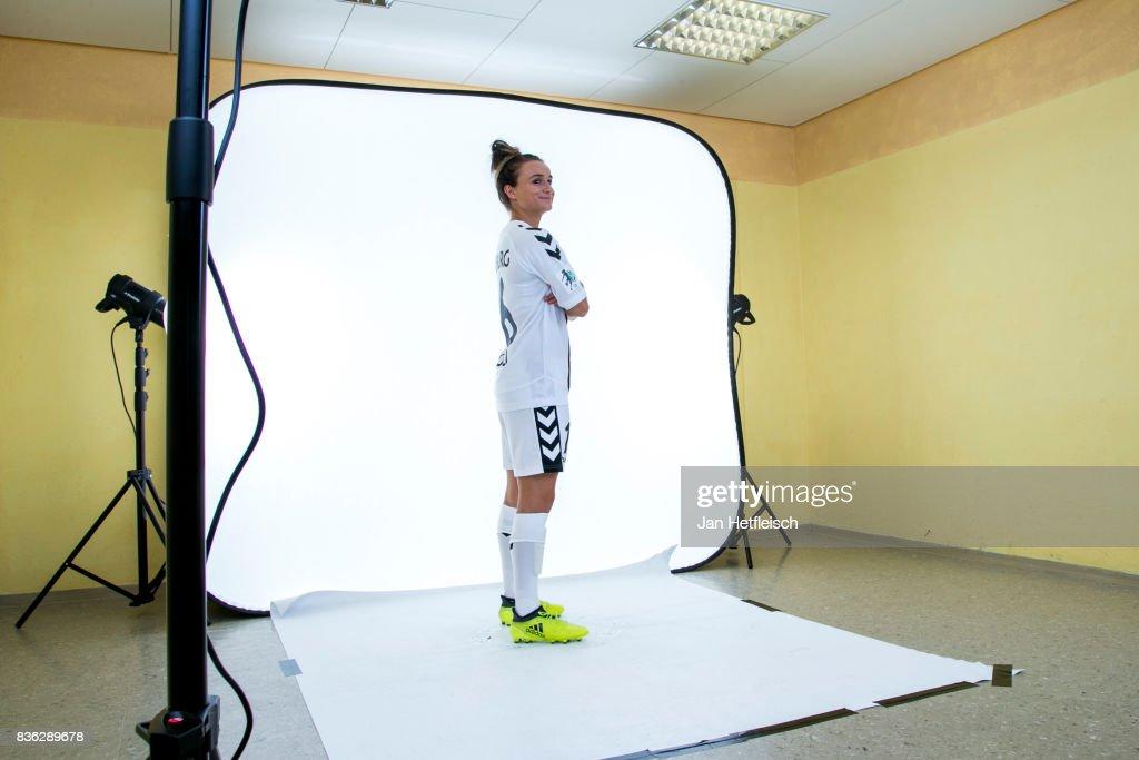 Lina Magull of SC Freiburg poses during the Allianz Frauen Bundesliga Club Tour on August 21, 2017 in Warth, Austria.