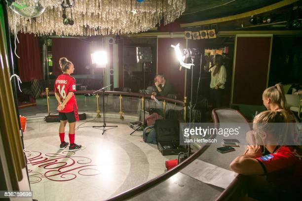 Lina Magull of SC Freiburg poses during the Allianz Frauen Bundesliga Club Tour on August 21 2017 in Warth Austria