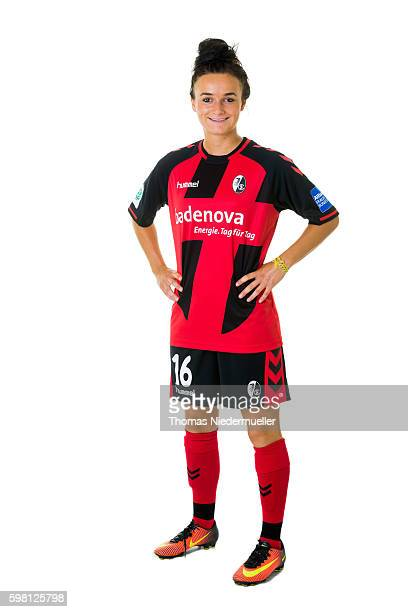 Lina Magull of SC Freiburg poses during the Allianz Women's Bundesliga Club Tour on August 31 2016 in Freiburg im Breisgau Germany