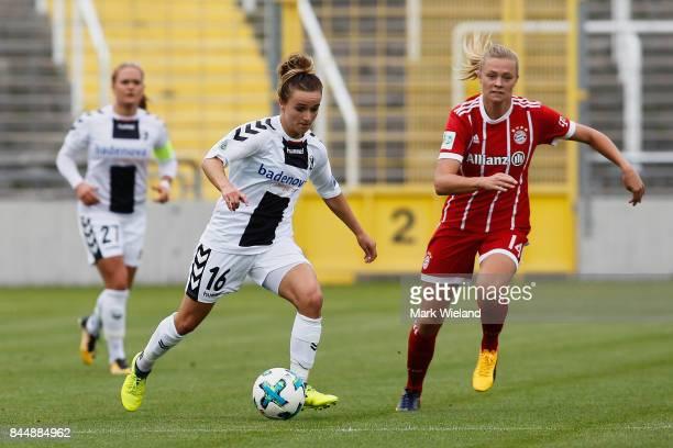 Lina Magull of SC Frieburg in action during the women Bundesliga match between Bayern Muenchen and SC Freiburg at Stadion an der Gruenwalder Strasse...