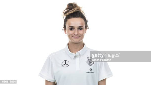 Lina Magull poses during the DFB Ladies Marketing Day on April 3 2017 in Frankfurt am Main Germany