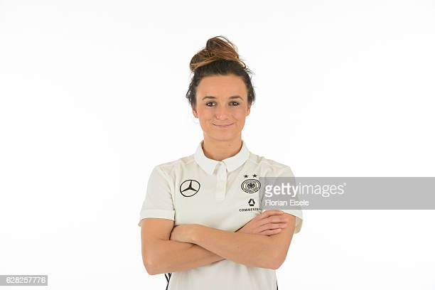 Lina Magull poses in the new home jersey of the German women's national soccer team on November 25 2016 in Chemnitz Germany