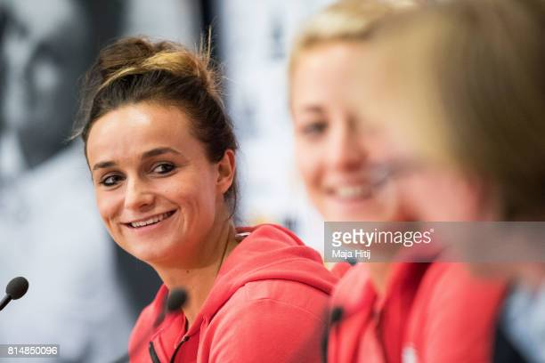 'SHERTOGENBOSCH NETHERLANDS JULY 15 Lina Magull smiles during a press conference of a Germany Women's team next to Carolin Simon on July 15 2017 in...