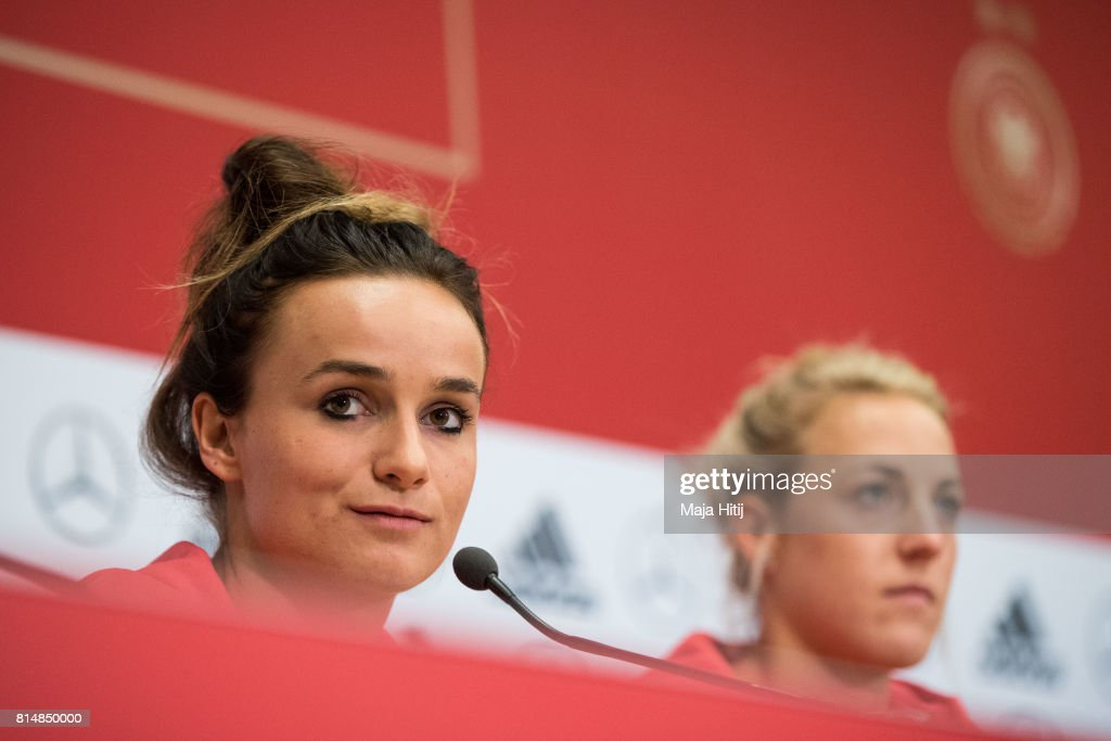 'S-HERTOGENBOSCH, NETHERLANDS - JULY 15: Lina Magull (L) speaks during a press conference of a Germany Women's team next to Carolin Simon on July 15, 2017 in 's-Hertogenbosch, Netherlands.
