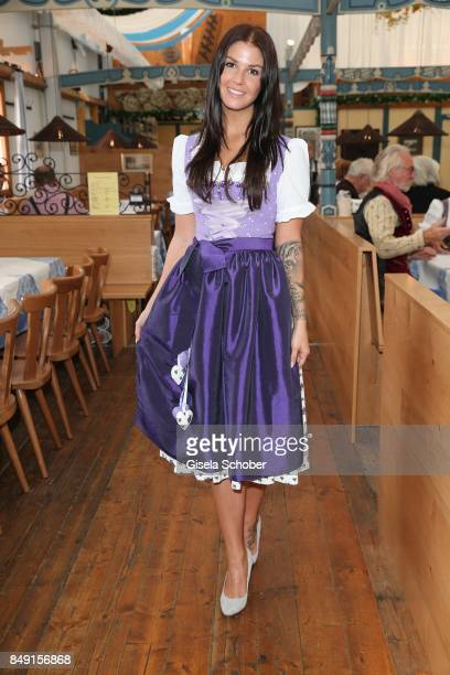 Lina Meyer girlfriend of FC Bayern soccer player Josua Kimmich wearing a dirndl by Schatzi Dirndl during the 'Schatzi Wiesn' during the Oktoberfest...