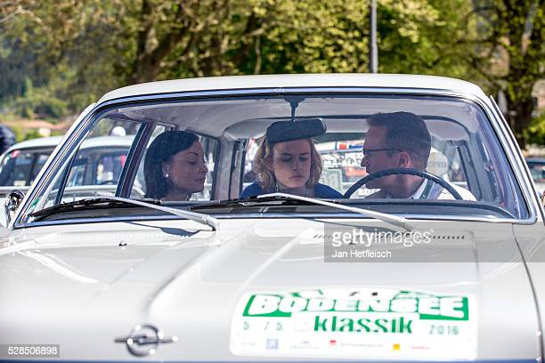 Lina van de Mars and her team prepare for the start of the 5th Bodensee Klassik rallye at Festspielhaus on May 5 2016 in Bregenz Austria