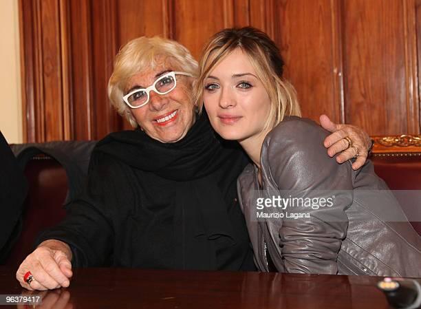 Lina Wertmuller and Carolina Crescentini attend a press conference at Palazzo San Giorgio during Reggio Calabria FilmFest on February 3 2010 in...