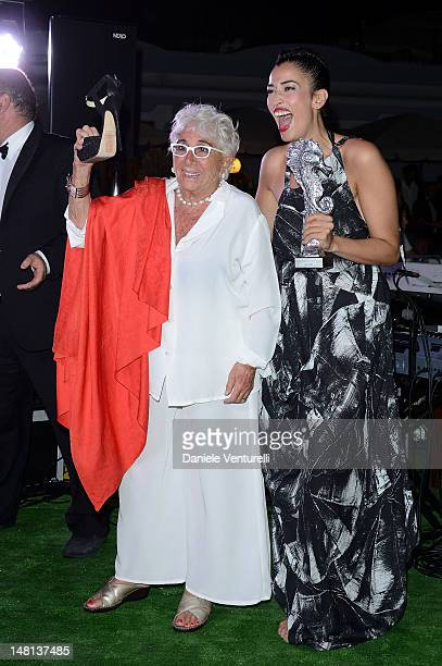 Lina Wertmuller and Nina Zilli attend Day 3 of the 2012 Ischia Global Fest on July 10 2012 in Ischia Italy