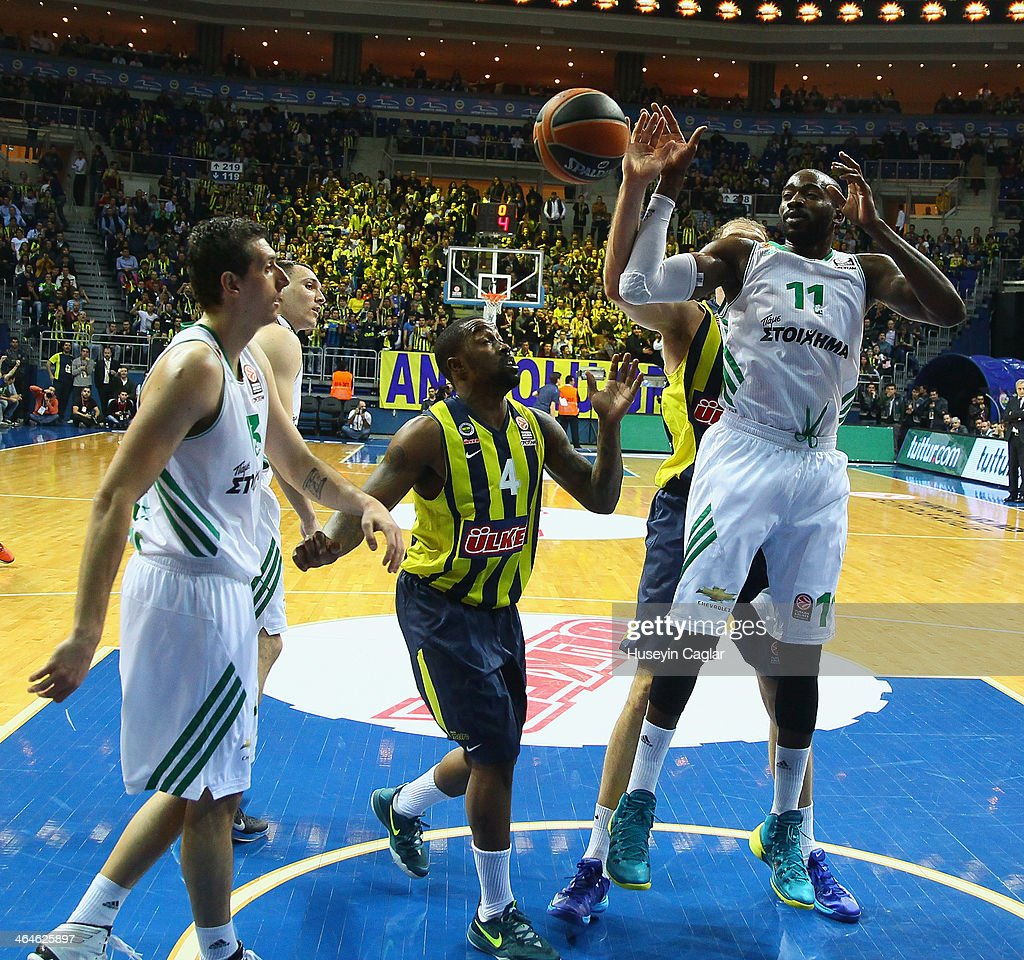 Linas Kleiza #11 of Fenerbahce Ulker Istanbul competes with Bo McCalebb #4 of Fenerbahce Ulker Istanbul in action during the 20132014 Turkish...