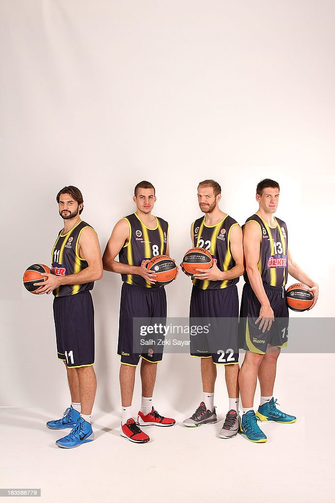 Linas Kleiza Nemanja Bjelica Luka Zoric Gasper Vidmar of Fenerbahce Ulker during the Fenerbahce Ulker Istanbul 2013/14 Turkish Airlines Euroleague...