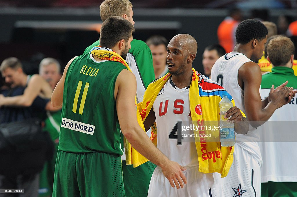 Linas Kleiza of Lithuania congratulates Chauncey Billups of the USA Senior Men's National Team following the game during the 2010 World Championships...