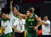 Linas Kleiza of Lithuania in action at the 2010 World Championships of Basketball during the game between Lithuania and Serbia on September 12 2010...