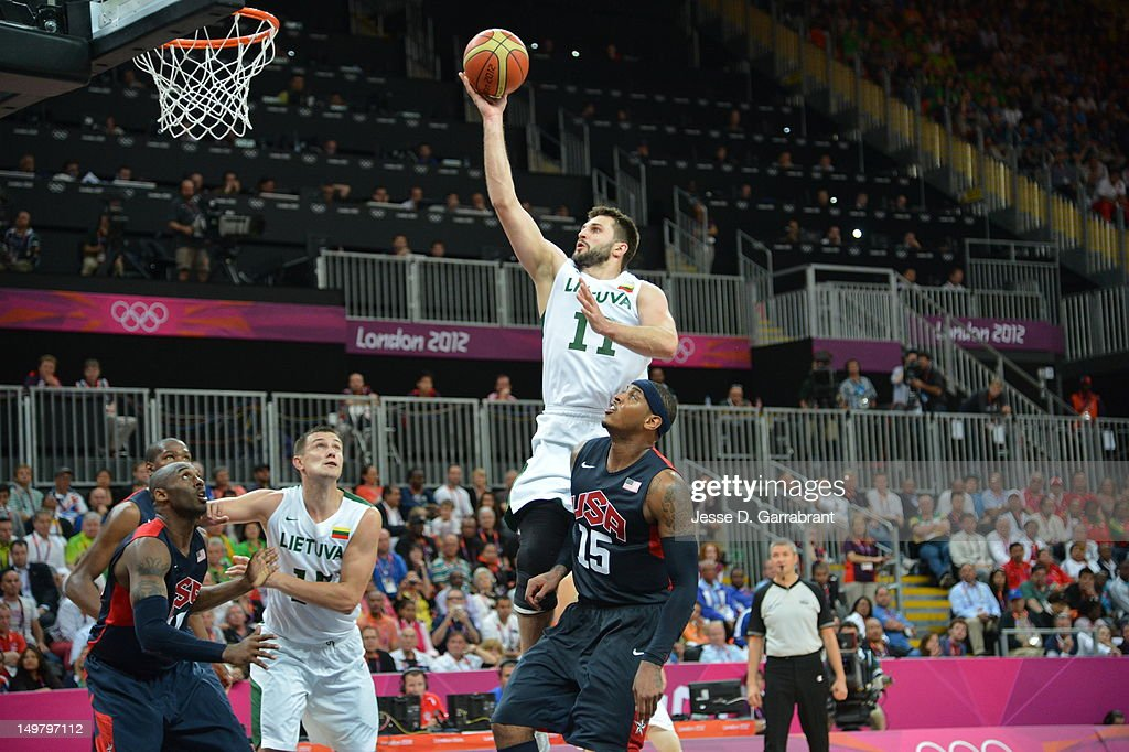 Linas Kleiza #11 of Lithuania shoots against the United States during their Basketball Game on Day 6 of the London 2012 Olympic Games at the Olympic Park Basketball Arena on August 4, 2012 in London, England.