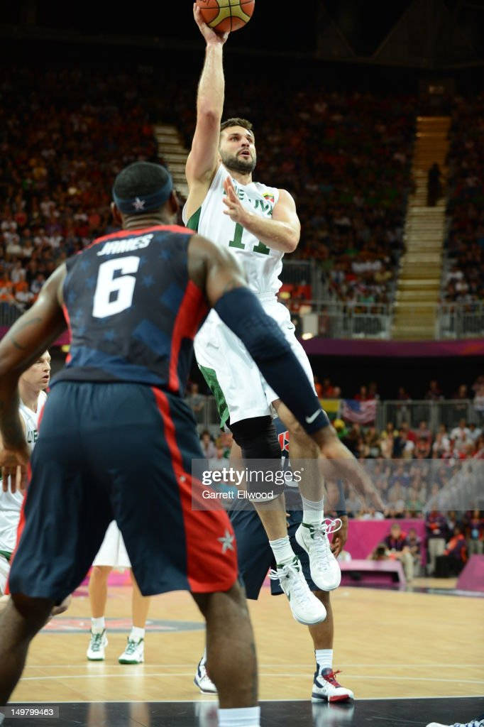 Linas Kleiza #11 of Lithuania shoots against the United States during their Basketball Game on Day 8 of the London 2012 Olympic Games at the Olympic Park Basketball Arena on August 4, 2012 in London, England.