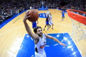 Linas Kleiza of the Fenerbahce Ulker dunks against the Oklahoma City Thunder as part of the NBA Global Games on October 5 2013 at the Ulker Sports...