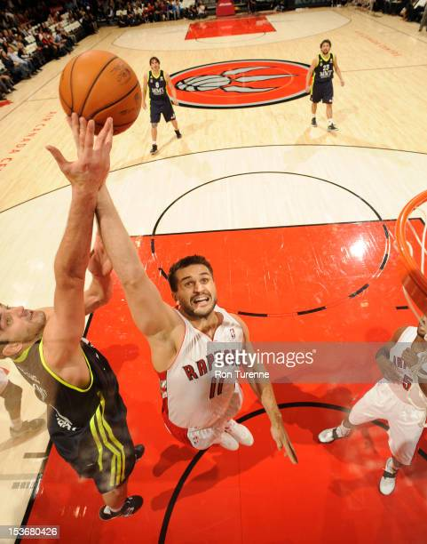 Linas Kleiza of the Toronto Raptors gains the ball during the game between the Real Madrid and the Toronto Raptors on October 8 2012 at the Air...