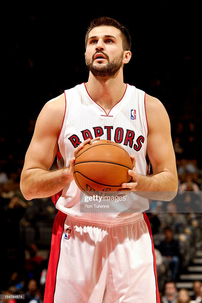 Linas Kleiza #11 of the Toronto Raptors shoots a free-throw against the Washington Wizards during a pre-season game on October 17, 2012 at the Air Canada Centre in Toronto, Ontario, Canada.