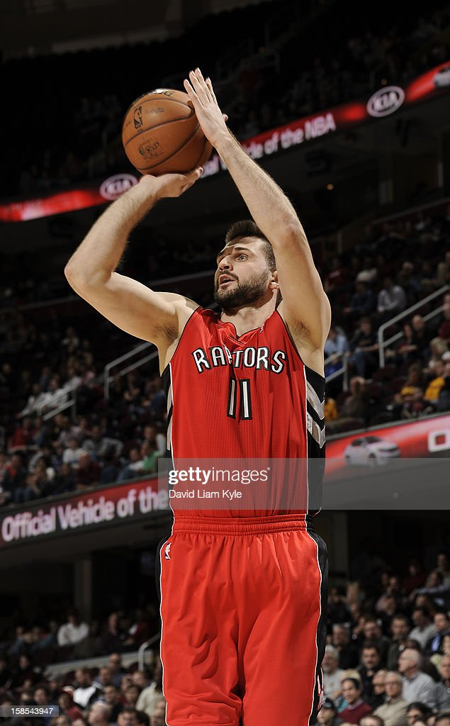 <a gi-track='captionPersonalityLinkClicked' href=/galleries/search?phrase=Linas+Kleiza&family=editorial&specificpeople=211014 ng-click='$event.stopPropagation()'>Linas Kleiza</a> #11 of the Toronto Raptors shoots a jumper against the Cleveland Cavaliers at The Quicken Loans Arena on December 18, 2012 in Cleveland, Ohio.