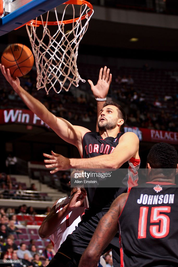 Linas Kleiza #11 of the Toronto Raptors shoots a layup against the Detroit Pistons on November 23, 2012 at The Palace of Auburn Hills in Auburn Hills, Michigan.