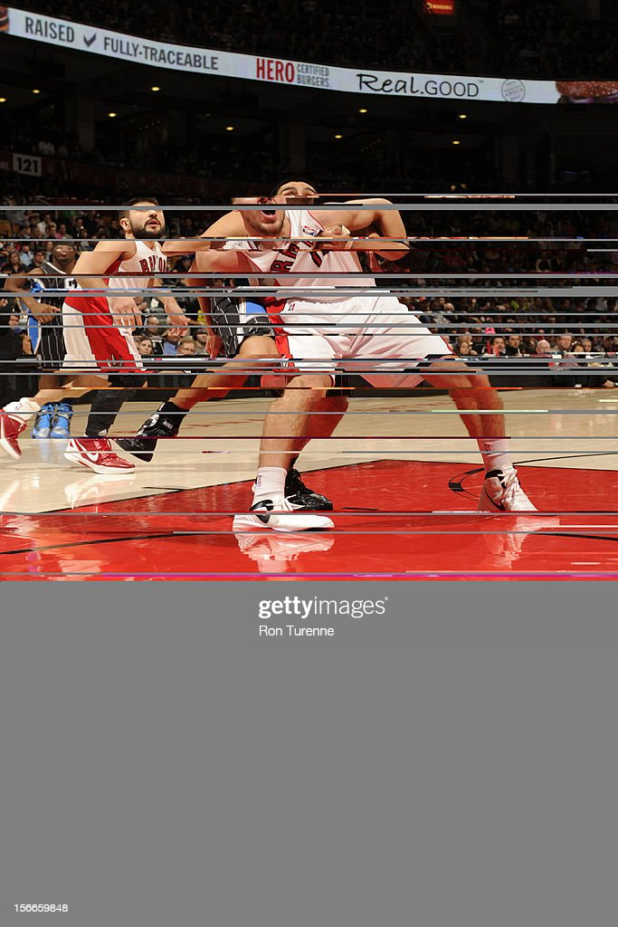 <a gi-track='captionPersonalityLinkClicked' href=/galleries/search?phrase=Linas+Kleiza&family=editorial&specificpeople=211014 ng-click='$event.stopPropagation()'>Linas Kleiza</a> #11 of the Toronto Raptors waits for the ball vs the Orlando Magic during the game on November 18, 2012 at the Air Canada Centre in Toronto, Ontario, Canada.