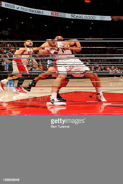Linas Kleiza of the Toronto Raptors waits for the ball vs the Orlando Magic during the game on November 18 2012 at the Air Canada Centre in Toronto...