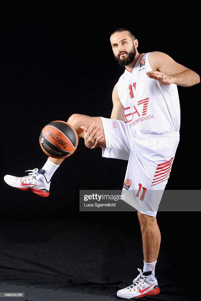 Linas Kleiza#11 of EA7 Emporio Armani Milan poses during the EA7 Emporio Armani Milan 2014/2015 Turkish Airlines Euroleague Basketball Media Day at...