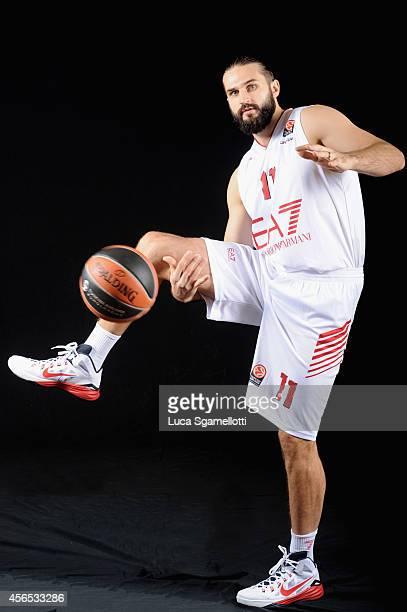Linas Kleiza#11 of EA7 Emporio Armani Milan poses during the EA7 Emporio Armani Milan 2014/2015 Turkish Airlines Euroleague Basketball Media Day at...