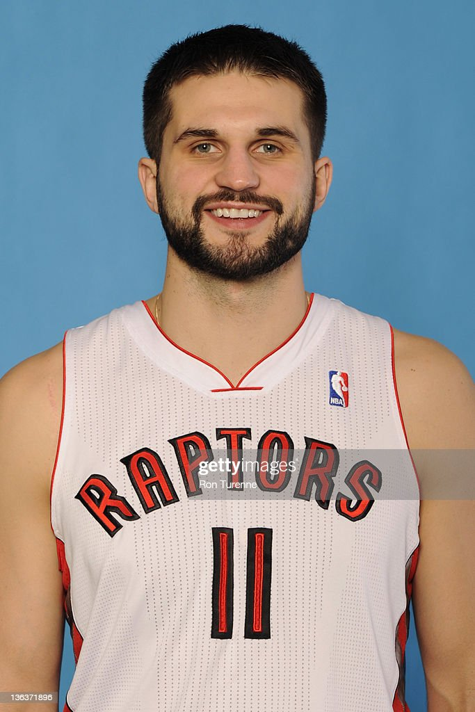 Linas Klezia #11 of the Toronto Raptors poses for a portrait during media day at Air Canada Centre on December 12, 2011 in Toronto, Ontario.