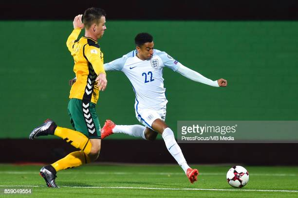 Linas Klimavicius of Lithuania and Jesse Lingard of England during the FIFA 2018 World Cup Qualifier between Lithuania and England on October 8 2017...