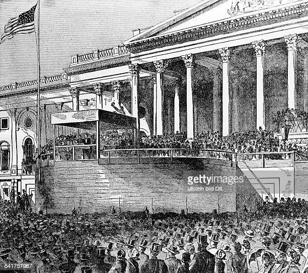 Lincoln Abraham *1202180915041865Politician USA16th President of the USA Abraham Lincoln's inaugural speech in Washington as US President