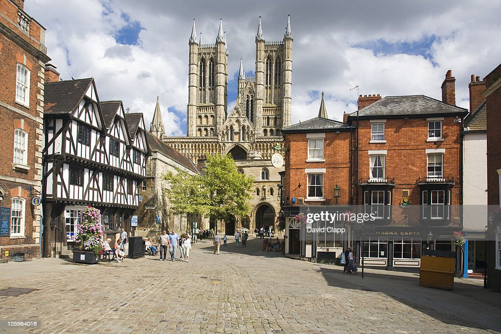 Lincoln Cathedral and town square, Lincoln, UK : Stock Photo