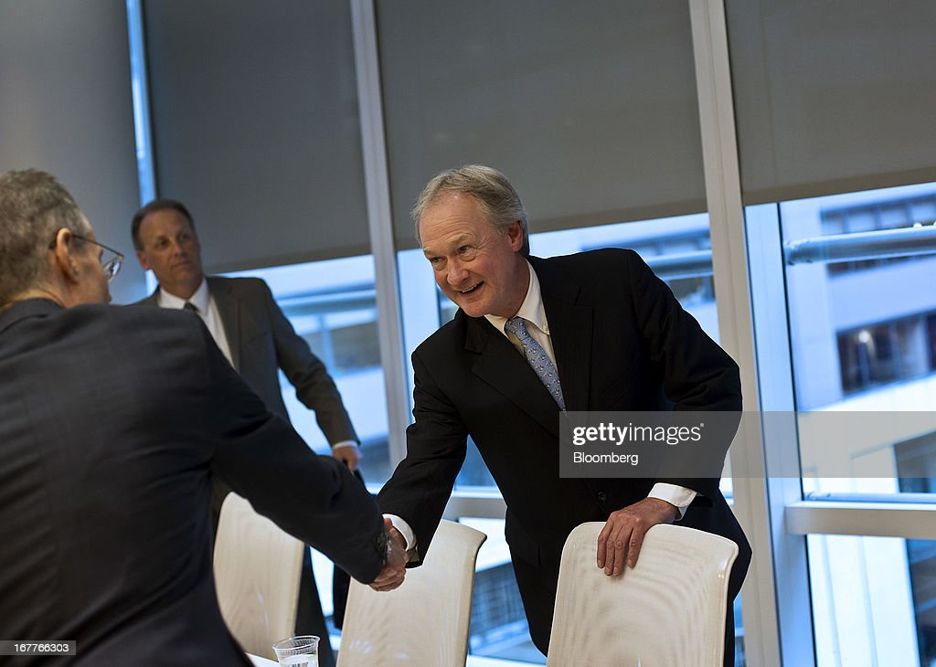 Lincoln Chafee, governor of Rhode Island, greets reporters before the start of an interview in New York, U.S., on Monday, April 29, 2013. Chafee said he will sign a bill legalizing same sex-marriage as soon as this week, providing an economic boost to the state and a resolution of an issue whose 'time had come.' Photographer: Victor J. Blue/Bloomberg via Getty Images