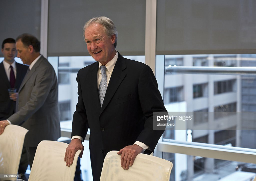 Lincoln Chafee, governor of Rhode Island, smiles before the start of an interview in New York, U.S., on Monday, April 29, 2013. Chafee said he will sign a bill legalizing same sex-marriage as soon as this week, providing an economic boost to the state and a resolution of an issue whose 'time had come.' Photographer: Victor J. Blue/Bloomberg via Getty Images