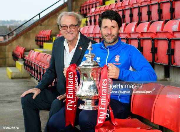Lincoln City chairman Bob Dorrian left and Lincoln City manager Danny Cowley pose for a photograph with the Emirates FA Cup during the Lincoln City...