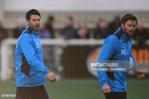 Lincoln City manager Danny Cowley and Nicky Cowley during the prematch warmup prior to the Vanarama National League match between Maidstone United...