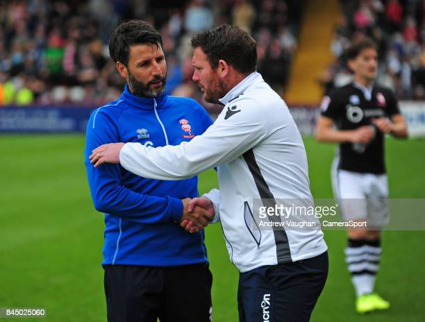Lincoln City manager Danny Cowley and Stevenage manager Darren Sarll prior to the Sky Bet League Two match between Stevenage and Lincoln City at The...