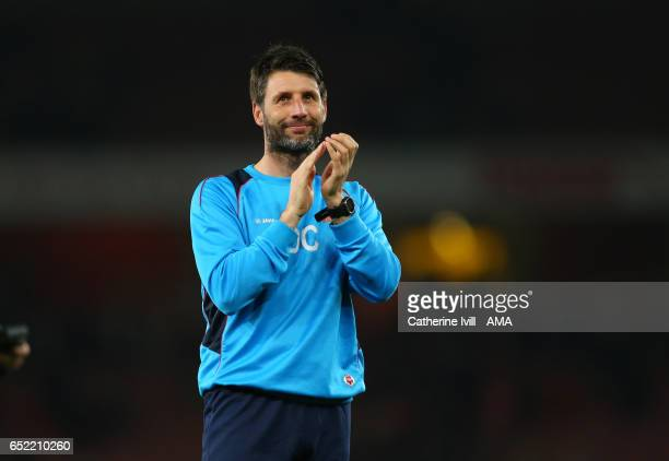 Lincoln City manager Danny Cowley applauds after The Emirates FA Cup QuarterFinal match between Arsenal and Lincoln City at Emirates Stadium on March...