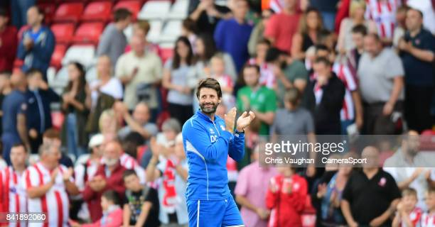 Lincoln City manager Danny Cowley applauds the fans at the final whistle of the Sky Bet League Two match between Lincoln City and Luton Town at...