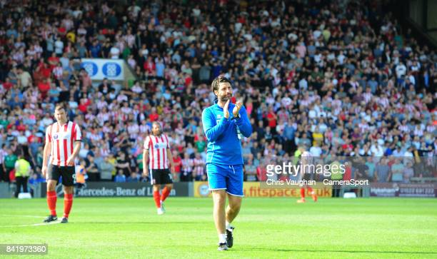 Lincoln City manager Danny Cowley applauds the fans prior to the Sky Bet League Two match between Lincoln City and Luton Town at Sincil Bank Stadium...