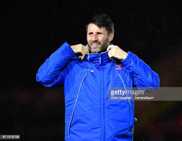 Lincoln City manager Danny Cowley during the EFL Checkatrade Trophy Northern Section Group G match between Lincoln City and Notts County on November...