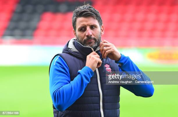 Lincoln City manager Danny Cowley during the prematch warmup during the Sky Bet League Two match between Crewe Alexandra and Lincoln City at The...
