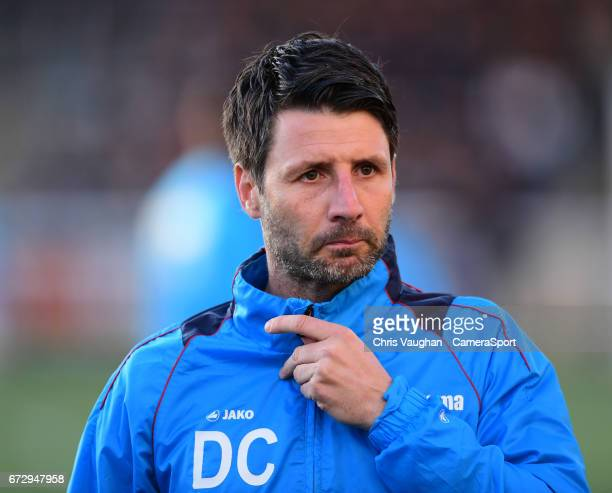 Lincoln City manager Danny Cowley during the prematch warmup prior to the Vanarama National League match between Maidstone United and Lincoln City at...