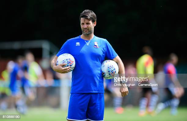 Lincoln City manager Danny Cowley during the prematch warmup prior to the preseason friendly match between Lincoln United and Lincoln City at Sun Hat...