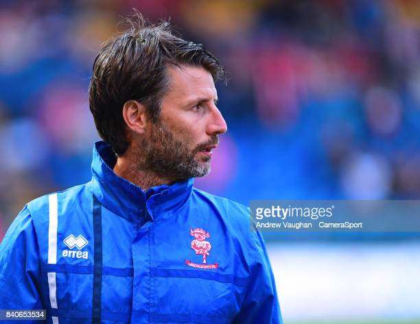 Lincoln City manager Danny Cowley during the prematch warmup prior to the EFL Checkatrade Trophy Northern Section Group G match between Mansfield...
